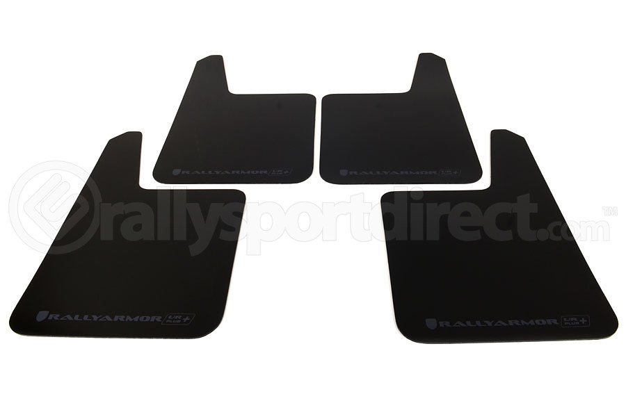 Rally Armor UR Plus Universal Mud Flaps Black Urethane Grey Logo (Part Number:MF20-URP-BLK/GRY)