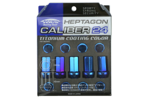 KICS Project Heptagon Caliber 24 Blue Titanium Closed Ended Lug Nuts 12X1.25 (Part Number: )