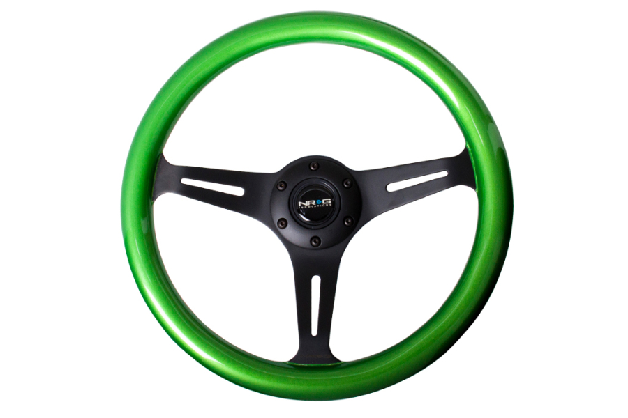 NRG Classic Wood Grain Wheel 350mm Black / Green Pearl - Universal