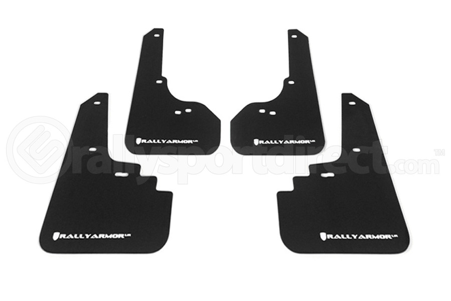 Rally Armor UR Mudflaps Black Urethane White Logo ( Part Number:RAL MF4-UR-BLK/WH)