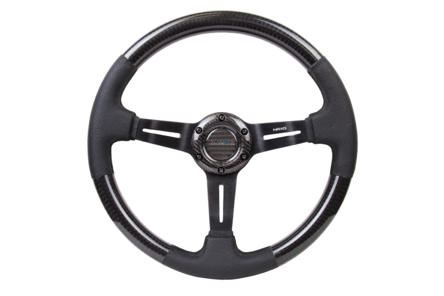 NRG Carbon Fiber Steering Wheel 350mm 1.5in Dish w/Leather Accent - Universal