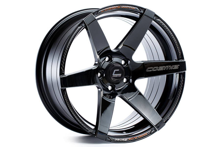 Cosmis Racing Wheels S1 18x9.5 +15 5x114.3 Black w/ Milled Spokes - Universal