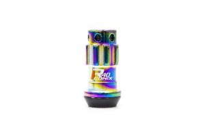 KICS R40 Iconix 12x1.25 Neo Chrome Lug Nuts w/ Locks and Black Caps - Universal