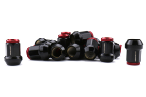 KICS Kyokugen Lug Nuts w/ Aluminum Cap 12x1.50 Black / Red - Universal