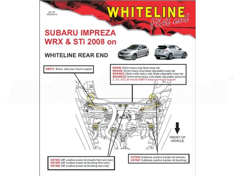 Whiteline Rear saccadé Bush Insert for SUBARU Impreza WRX GV Saloon t Hatch