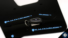 Rally Armor UR Mudflaps Black Urethane Light Blue Logo (Part Number: )